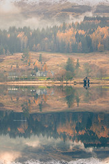 Loch Lubnaig (Chee Seong) Tags: loch lubnaig lake scotland uk reflection autumn fall calm tranquil fog mist landscape nature vertical cottage
