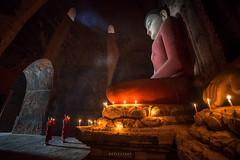 2 novices and the bid buddha (notjustnut) Tags: novice buddha buddhism bagan myanmar faith warship monk