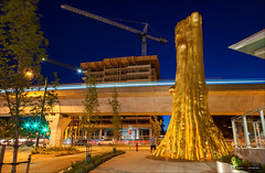 Progress (Clayton Perry Photoworks) Tags: vancouver bc canada summer explorebc explorecanada dailyhivevan cambiemarine canadaline night light art gold plastic hollowtree stream douglascoupland goldentree