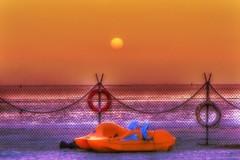 University Beach (Matthias Harbers) Tags: kingabdullahuniversityofsciencetechnology jeddah kingdomofsaudiarabia kaust university 3xp hdr dxo photomatix photoshop topaz labs akvis sony rx100 cybershot middleeast beach redsea sunset evening sky outdoor travel study sun water orange