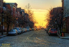 View up Fell Street at dawn, Fells Point, Baltimore MD (PhotosToArtByMike) Tags: fellspoint fellstreet baltimore maryland md cobblestonestreet fellspointnationalhistoricdistrict thamesstreet historicwaterfront waterfrontcommunity storefronts 18thand19thcenturyhomes baltimoreharbor maritime