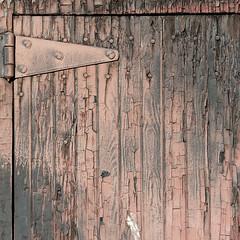 onehinged (fourcotts) Tags: fourcotts square olympus omd em5 ii evanston wyoming wy united states america usa roundhouse door hinge flaking paint wood crumbling decay restoration progress