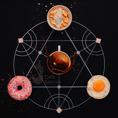 Breakfast alchemy (Hitesh_85) Tags: alchemy coffee milk sweet cereal scrambledeggs food drink fromabove frozenmotion highspeed splash chalk fma tribute copyspace black circle geometry process recipe magic science cooking ingredient learning breakfast tasty creative blackboard chalkboard draw khabarovsk