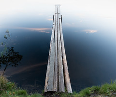 Going to nowhere (alexxspb) Tags: mist fog lake water reflection nature clouds coast tree grass pier green