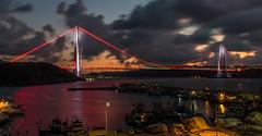 UMT_7733-2 (UmitCukurel) Tags: bridge turkey istanbul bosphorus sony nikon lightroom d750 sonyalpha bogazici kopru night poyrazkoy battleship gemi sky sunset dusk gunbatimi cloud