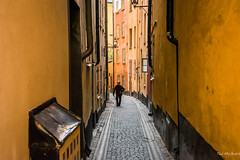 2016 - Baltic Cruise - Stockholm - Old Town Typical (Ted's photos - For Me & You) Tags: 2016 cropped stockholm sweden tedmcgrath tedsphotos vignetting stockholmsweden streetscene street narrowstreet pedestrianstreet pedestrian people peopleandpaths