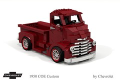 Chevrolet 1950 COE Custom (lego911) Tags: chevrolet chevy chev truck coe custom pickup v8 tray auto moc model miniland lego lego911 ldd render cad povray usa america classic 1950s lugnuts challlenge 107 saturdaymorningshownshine saturday morning show n shine foitsop
