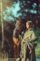 Les Horizons d'Or (Raphaelle Monvoisin) Tags: forest nature sunlight fashion animal leather love colors friend horse dawn horses friendship dusk fantasy medieval wild wilderness riding cheval equitation