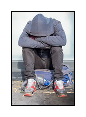 Homeless Man, East London, England. (Joseph O'Malley64) Tags: homeless homelessman eastlondon eastend london england uk britain british greatbritain onthestreet bereft vulnerable dispossessed roughsleeping poverty window pavement