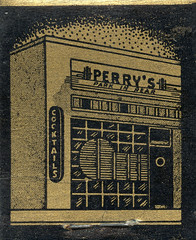 Perry's Cocktail Lounge (jericl cat) Tags: matches matchbook match illustration vintage losangeles paper ephemera restaurant dining cocktail perrys lounge bar exterior window streamline neon sign