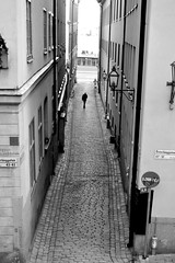 alone in Sweden (Les essais photographiques) Tags: sweden sude stockholm trip travel voyage holidays cool happiness black white street alone man ombre extrieur rue europe vacances weekend btiment maison petite