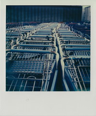The Cart Graveyard (DavidVonk) Tags: vintage instant film analog polaroid slr680 impossibleproject rusty abandoned scrap shopping cart buggy basket