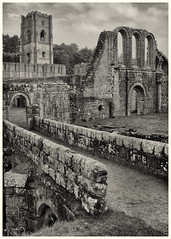 Fountains Abbey(4) (S.R.Murphy) Tags: bw fountainsabbey landscape october2016 urbanlandscape fujifilmx100t nature blackandwhite monochrome architecture building ruins nationaltrust yorkshire england ngc