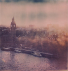 London Eye Sunset (H Polley) Tags: london impossibleproject impossible instantlab instantfilm expired expiredfilm film polaroid developing bigben thames housesofparlaiment sunset londoneye polaroidweek roidweek snapitseeit tipshow
