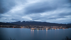 Akureyri twilight (joningic) Tags: october akureyri iceland nature northiceland mountains mountain hlarfjall urbannature urban sky clouds sea light twilight