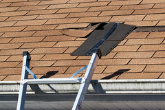 Shingles (BoKauffmann) Tags: architectural architecture asphalt background brown building close closeup construction damage damaged exterior fix fixing gutter home horizontal house improvement layer layered leak leaking leaky maintenance material protection repair residential roof roofing rooftop shingle shingles textured tile tiles up wall waterproof ladder weather black wind hurricane edge disaster windy missing broken unitedstatesofamerica