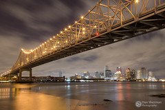 New Orleans (Dan Sherman) Tags: city bridge night buildings river lights louisiana downtown nightlights neworleans citylights mississippiriver nola neworleansskyline downtownneworleans
