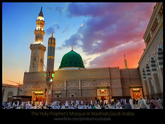 The_Holy_Prophet's_Mosque_Madinah-1002 (ArabianLens.com) Tags: reflection horizontal architecture outdoors photography dawn islam religion images mosque illuminated east getty medina spirituality middle saudiarabia distant traveldestinations almadinah buildingexterior placeofinterest largegroupofpeople colourimage gulfcountries incidentalpeople madinahmedinahajjmuslimislammohammedpbuhmakkahsaudiarabiaislamicartitechuremasjidnabawimosquerawlashaerifjennahziyarathminaretsgreendomeminaretspeople clearskyrawlasharif