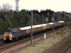Ariva Blue 57316 trails away from Werrington Jc. on 5Z69 03/05/2013 (Tom Watson 70013) Tags: ely statesman carnforth ecs class47 diamondjubilee class57 47854 57315 wcrc wcrcmarron arivablue werringtonjc