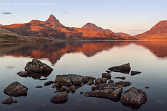 Stac Pollaidh Sunset (amcgdesigns) Tags: sunset red orange colour reflection water canon reflections landscape eos scotland highlands colours northwest unitedkingdom may calming scottish calm atmospheric lightroom achiltibuie cs4 assynt eos7d sunsetsandsunrisesgold cloudsstormssunsetssunrises lightroom4 andrewmcgavin badgersden2013