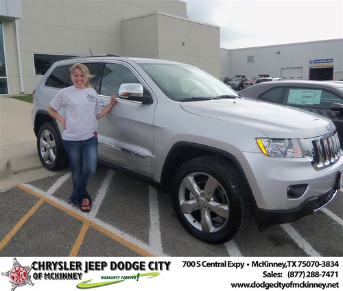 Dodge City of McKinney would like to say Congratulations to Jolie Williams on the 2013 Jeep Grand Cherokee