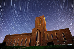 Amen to that! (AndWhyNot) Tags: light sky urban moon church night circle stars star worship cathedral stack full pollution guildford anglican startrails 2839 skyglow starstax