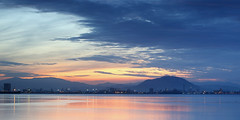 Penang, Malaysia {Explored} ({CP}) Tags: sea orange reflection sunrise colorful jetty malaysia penang tones bukitmertajam hcs