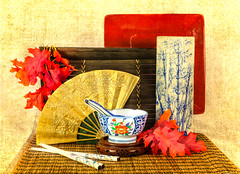 Asian Still Life with Porcelain Dishes and Gold Fan (ocanannain) Tags: chinese chineseporcelain asian chopsticks fan gold porcelain stilllife tabletopphotography still life zen