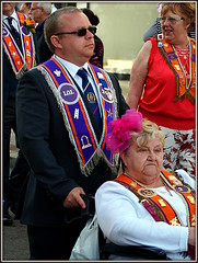 The Lodge (* RICHARD M (Over 5 million views)) Tags: street candid orangemensday thetwelfth 12thjuly orangeorder orangelodge lol orangesashes loyalorangelodge marches marchers marching shades sunspecs sunglasses sashes thelodge wheelchair disabled disability disabilities expressions southport sefton merseyside matriarch seniors pensioners oap formidable characters wheelchairbound formidablelady