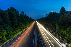 Slow It Down (Tim van Zundert) Tags: liphook east hampshire night evening long exposure light trails road dual carriageway a3 trees moon blue hour sony a7r voigtlander 21mm ultron