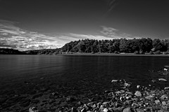 FEWSTON RESERVOIR (rockindave1) Tags: fewstonreservoir blackwhite water sky clouds reflection rocks trees canoneos5dmark2 adobecs5 adobelightroom4