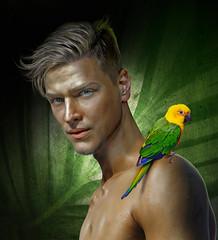 Deep green (irestless) Tags: irestless body beard blonde chest colors color face neck deep models model eye eyes men hairy hair shadows lips light look man muscles male nature new uomo portrait parrot arm arms plumage beak bird shoulders shoulder