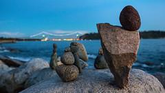 Inukshuk Rock Art (Mark Klotz) Tags: inukshukrockart inukshuk westvancouver beautifulbritishcolumbia bc canadianscenery canada nightlife markklotz art rockart beaches sunset dusk beautiful light canon canonef1635mmf28liiusm canonlens 1635mmf28l