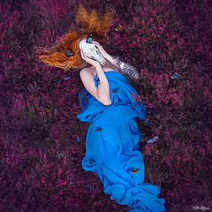 """""""Masks beneath masks until suddenly the bare bloodless skull."""" - Salman Rushdie (lucy jane purrington art) Tags: selfie selfportrait self heather skull butterfly ginger mask fineart photoshop photoart purrington portrait photos abertridwr wales flowers woman surreal ethereal"""