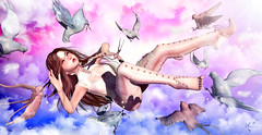 Lost in my dreams (meriluu17) Tags: dove doves dream swallow bird birds fly fall sky cloud clouds falling scare excited lost blue pink light galaxy outdoor people agic mystic surreal