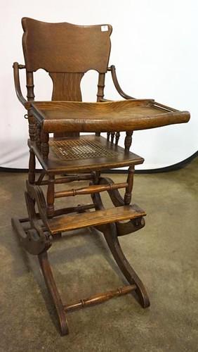 Oak Pressed Back Convertible High Chair ($145.60)