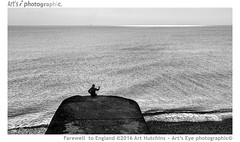 Farewell to England (Art's Eye photographic) Tags: man male seascape sea coast englishchannel marine sky clouds silhouette monochrome blackwhite horizon brighton eastsussex unitedkingdom calm