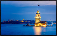 Maiden Tower close up (Sean X. Liu) Tags: maidenstower istanbul bluehour turkey mosque bluemosque