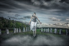 Spirit (C.James Photography) Tags: grave late darkclouds darksky vikingburial burial viking rock rocks stones onlocation flash nikon photography photoshoot mist levitate floating female clouds landscape spirit ghost youngwoman girl
