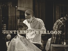 Gentlemens Saloon . (kitchou1 Thanx 4 UR Visits Coms+Faves.) Tags: autumn bw cityscape england europe landscape nb people season sepia street world saison