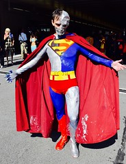 DSC_0051 (Randsom) Tags: nycc 2016 newyorkcomiccon nycomiccon javitscenter october nyc newyorkcity cosplay costume fun comicbooks comicconvention dccomics supermanfamily superman justiceleague jla halloween spooky monster ghoul cyborg brunette cape male man spandex
