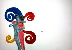 embrace. (Saheli!) Tags: illustration drawing pencils pen love hug embrace