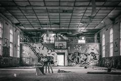 Abandoned (Indiana Jules!) Tags: ehemalige sowjetische kaserne mit sporthalle schwarzweis monochrome bw black white fuji xt1 kontrast schrfentiefe tiefenschrfe lost place abandoned forgotten rotten symmetrie linien winkel russisch russland ddr basketball