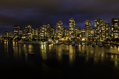 Once more with glowing (aerojad) Tags: 2016vancouver night nightphotography longexposure vancouver vacation travel wanderlust skyline cityscape urban canada falsecreek bridge cambiestreetbridge pnw pacificnorthwest