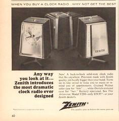 1967 Zenith Clock Radio Advertisement Time Magazine December 8 1967 (SenseiAlan) Tags: 1967 zenith clock radio advertisement time magazine december 8
