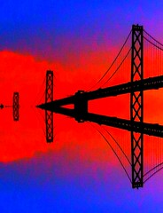 "Bridge over SF Bay (""Cisco Kid"") Tags: photoshop mirror baybridge blue orange water"