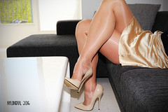 IMG_1094 - CRISS CROSS (nylongrrl) Tags: platino clean cut cleancut eliteheels highheels heels shiny glossy pantyhose skirt satin tan 6 stiletto