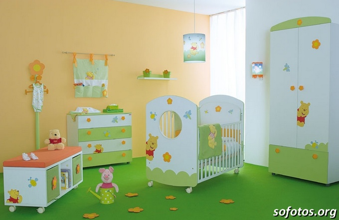 cool baby nursery room green