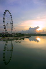 Singapore Flyer - Sunrise (teckhengwang) Tags: flower gardens by landscape bay flyer singapore sony full dome frame 20mm wang alpha dslr teck heng sal20f28 teckhengwang