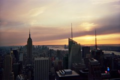 Top of the Rock (emibell) Tags: city nyc newyorkcity winter sunset urban ny newyork skyline buildings holidays december skyscrapers manhattan rockefellercenter midtown newyorkskyline viewpoint 2009 christmastime topoftherock winterbreak winterfun cityview newyorkbuildings midmanhattan kodakdisposable winterwanderings emibell